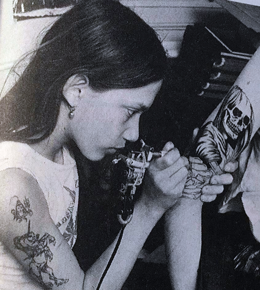 a very young Filip Leu tattooing